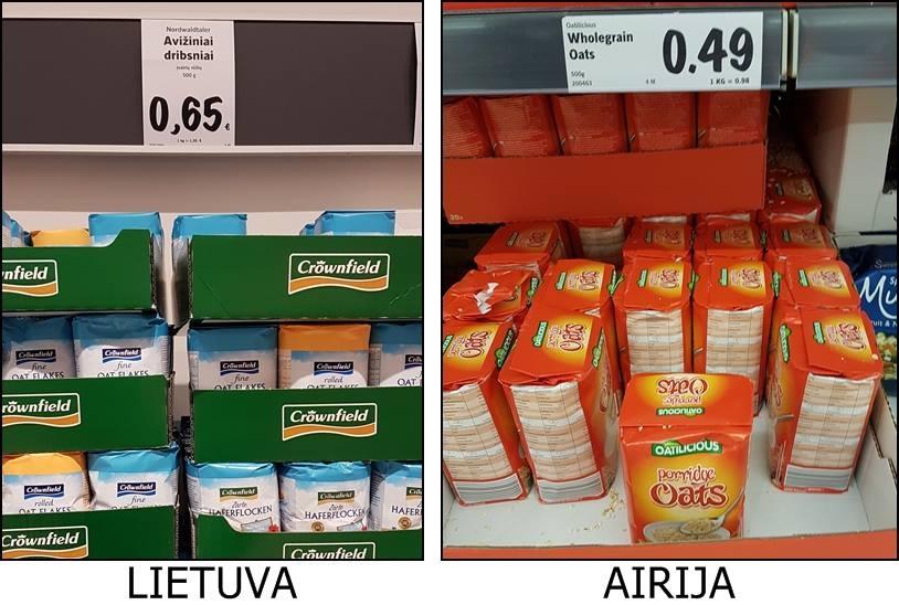 Lidl kainos Lietuvoje ir Airijoje