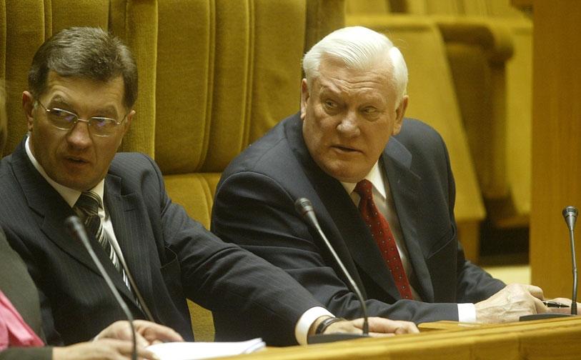 Algirdas Butkevičius ir Algirdas Brazauskas (Linos Žilytės nuotr.)