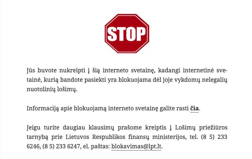 LPT pranešimas apie blokuojama svetainę