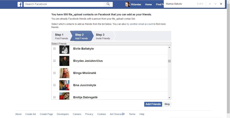 """Įkėlus failą subjekto pirmame 30 tūkstančių numerių nėra. Taip pat """"Facebook"""" meluoja sakydami, jog įkelti tik – 500 kontaktų"""