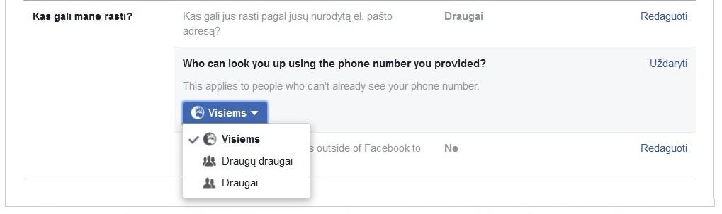"""""""Facebook"""" neturi funkcijos, kuri neleistų matyti jūsų telefono numerio"""