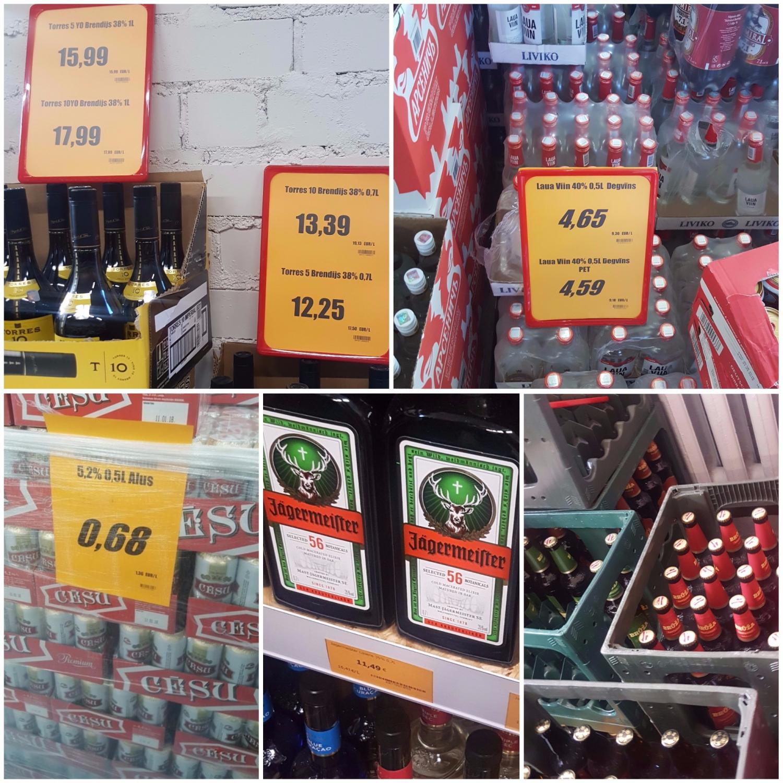 Alkoholinių gėrimų kainos Latvijoje