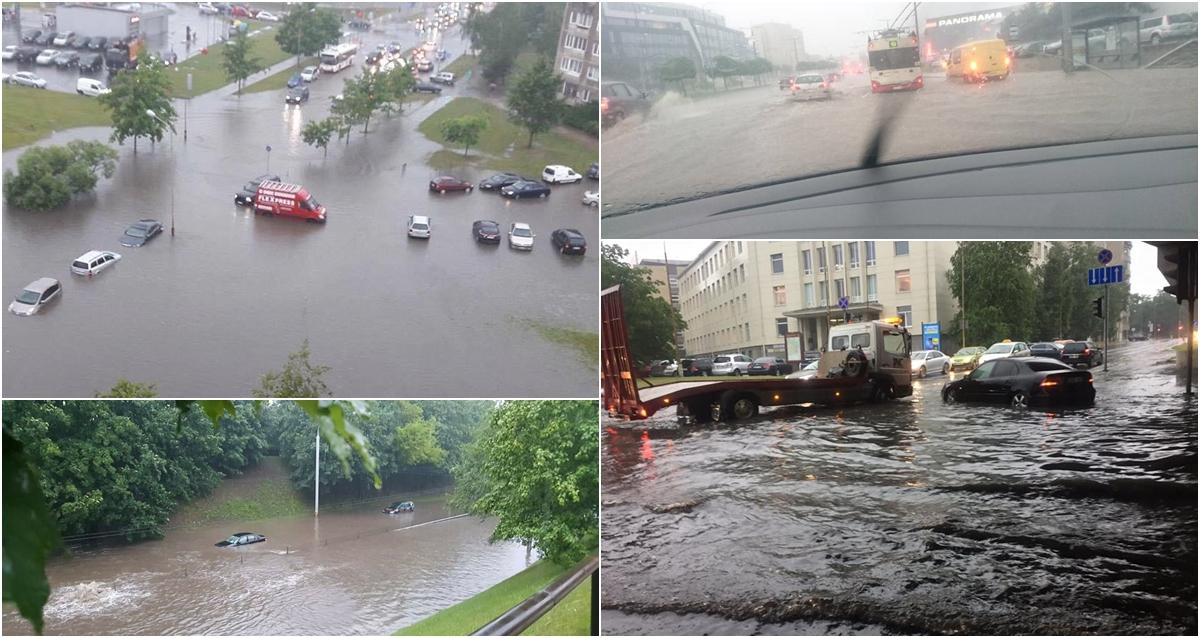 Stipri liūtis paralyžiavo Vilnių: miesto gatvėse chaosas, dalis kelių tapo upėmis