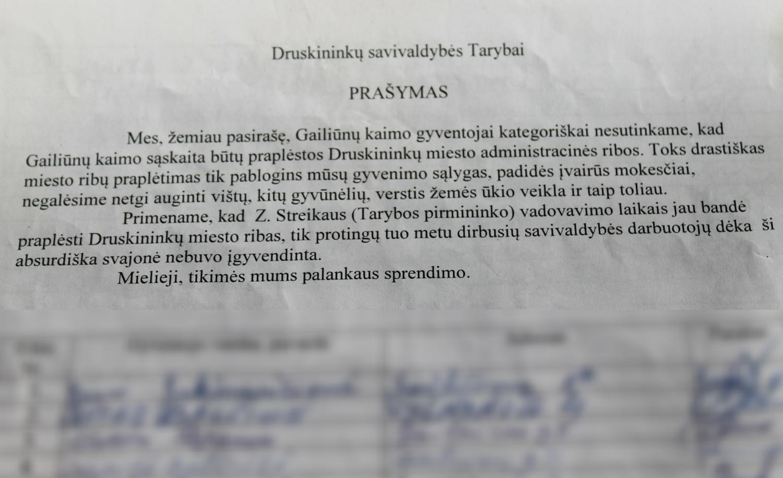 Druskininkų gyventojų laiškas savivaldybei