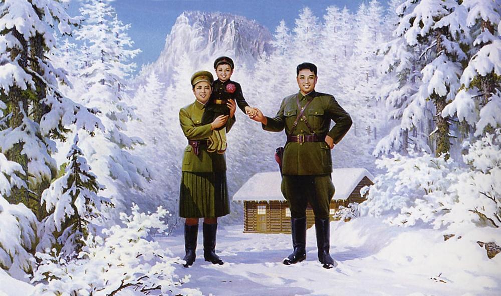 Kim Jon-unas su tėvais propagandiniame atviruke