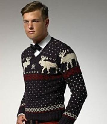 Мужской свитер в сине-белой